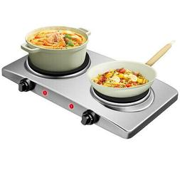 1800W Double Hot Plate Electric Countertop Burner Stainless