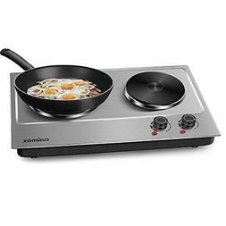 Cusimax 1800W Double Hot Plate, Stainless Countertop Burner,