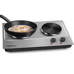 Cusimax 1800W Double Hot Plate, Stainless Steel Countertop B