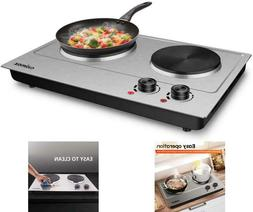 CUSIMAX 1800W Double Hot Plate Stainless Steel Silver Counte