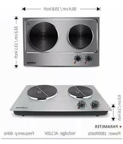 Electric Cooktop Burner Double Stove Hot Plate Countertop Po