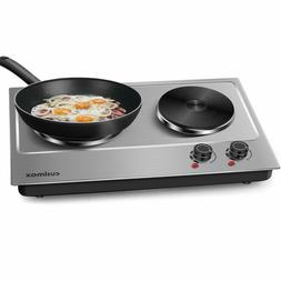 1800W Electric Hot Plate Portable Double Burners Cooking Dua