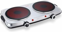 1800W Hot Plates for Cooking Electric Double Burner with Han