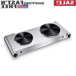 1800W Hot Plates Portable Electric Double Burner 5 Levels Ca