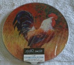 2 7-inch Rooster Hot Plates/Trivets Tempered Glass - Dishwas
