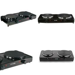 2-Burner 7.5 In. Black Diecast Hot Plate With Temperature Co
