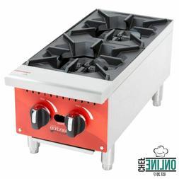 2 Hot Plate Gas Burner Commercial Countertop Range 50,000 BT