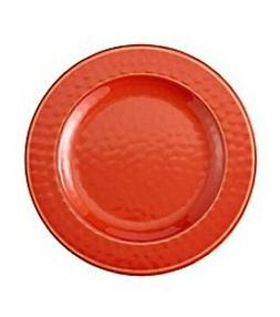 2 melamine hot orange dinner plates new