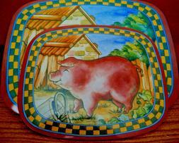 2 Pieces Country Pig Farm Hot Plates Hot Pads Pad Trivet