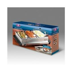 3 Station Buffet Server Food Electric Warming Tray SS Chafin