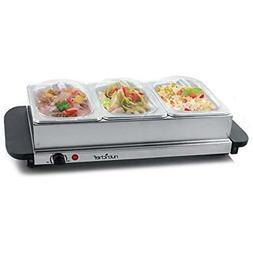 NutriChef 3 Tray Buffet Server & Hot Plate Food Warmer | Tab