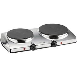 Brentwood  TS-372  1440w  Double  Electric  Hotplate,  Silve