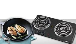 Courant Double Burner, 1700W Hotplate, Black Countertop Burn