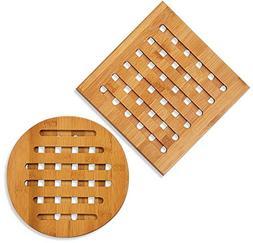 Bamboo Trivet - 2-Pack Wood Trivet, Hot Pads Plate, Heat Res