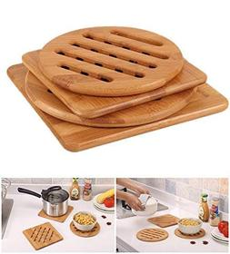 ASVO Bamboo Trivets for Hot Dishes Pot Pan Plate Hard Surfac