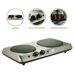 Ovente BGI102S Electric Glass Infrared Burner 7 Inch Double