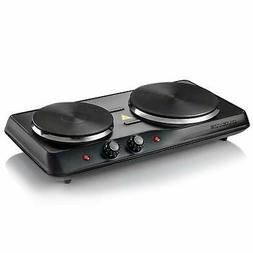 OVENTE BGS102B Countertop Electric Double Cast-Iron Burner w