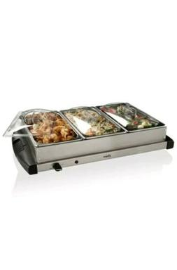 Oster Buffet Server, Triple Tray, 2-1/2 Quart, Stainless Ste
