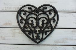 CAST IRON HEART SHAPED TRIVET HOT PLATE ~  HOME KITCHEN DECO