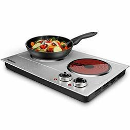 Cusimax 1800W Ceramic Electric Hot Plate for Cooking, Dual C