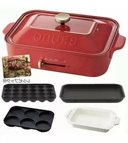 Bruno Compact Hot Plate Ceramic Coat Pot Multi Plate Red Tak