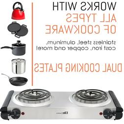 Countertop Electric Coil Double Burner Hot Plate Stove Top S