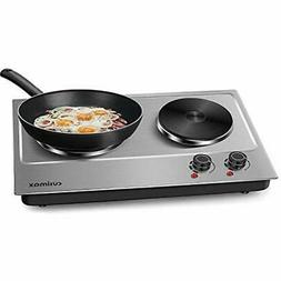 Cusimax Countertop Burners Double Hot Plate For Cooking Elec
