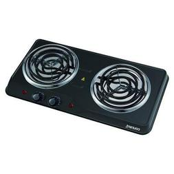 Courant Double Burner, 1700W Hotplate, Black Countertop Burn