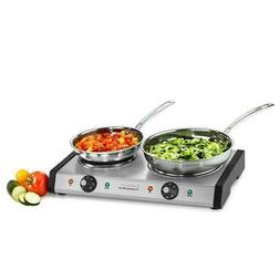 double burner cast iron hot plate | cuisinart stainless stee