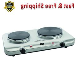 Double Burner Hot Plate 1500 W Stainless Steel Adjustable Te