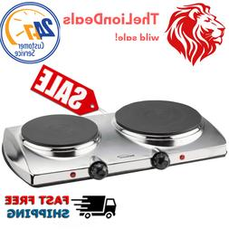 Double Burner Stove Hot Plate Flat Electric Kitchen Cooking