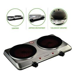 Ovente 120V 1500 Watts Double Cooktop Burner Portable Cerami