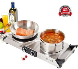 Duxtop Hot Plates Double Cast-Iron Burner Portable Electric