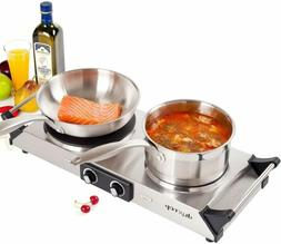Electric Burner Cooktop Hot Plate Double Cast-Iron Adjustabl