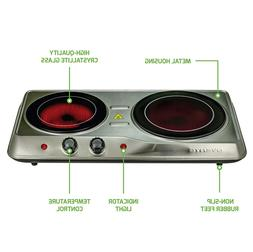 Electric Cooktop Burner  Ceramic Glass Hot Plate 2 Two Cooki