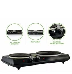 Electric Cooktop Burner Double Cast Iron Hot Plate 2 Two Coo