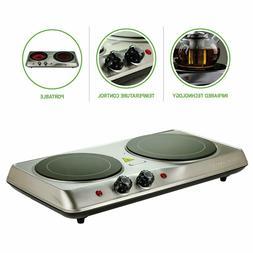 Electric Cooktop Burner Infrared Ceramic Glass Hot Plate 2 T