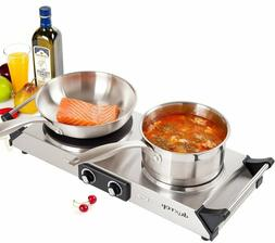 Electric Double Burner Cast Iron Cooktop Countertop Portable