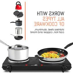 Electric Double Burner Cast Iron Hot Plate Stove Portable Co