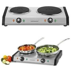 Electric Double Burner Countertop Oven Stove Cook Top Thermo