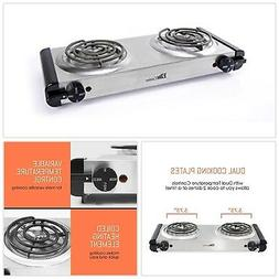Electric Double Coil Burner Hot Plate Elite Cuisine Stainles