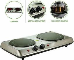 Ovente Electric Glass Infrared Burner 7 Inch Double Hot Plat