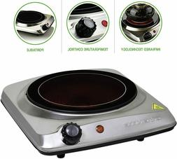 Ovente Electric Glass Infrared Burner 7 Inch Single Hot Plat