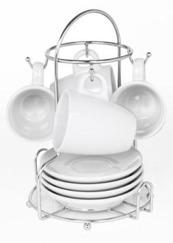 Imusa 9 Piece Espresso Set White with Chrome Rack New in Box