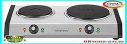 estufa electrica portatil de 2 quemadores 1800-Watts, acero