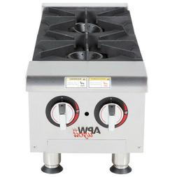 APW Wyott GHP-2i Gas Countertop Champion Hotplate - 2 Burner