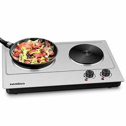 Cusimax Hot Plate, 1800W Electric Double Burner Cast Iron He