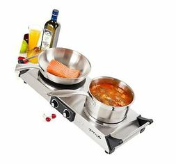 Duxtop Hot Plate Double Cast-Iron Electric Burner Cooktop wi