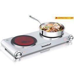 Techwood Hot Plate Electric Burner Countertop Burner Double