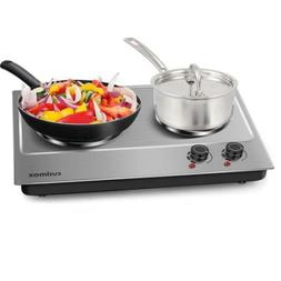 Cusimax Hot Plate Electric Double Burner Cast Iron Heating P